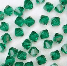 4mm Preciosa Crystal Bicone Emerald - 20